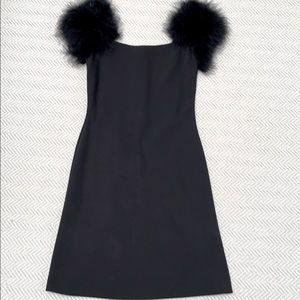 PINK TARTAN Black Dress with Fur Shoulder details